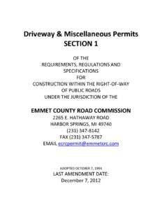 Emmet County Road Commission Driveway & Miscellaneous Permits